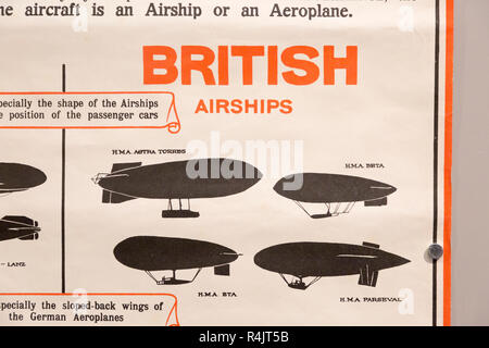 Identification poster for British army military airships of the First World War, Radstock museum, Somerset, England, UK - Stock Image