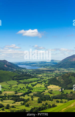 Newlands valley Cumbria, looking north towards the distant Bassenthwaite Lake from the summit of Cat Bells. - Stock Image