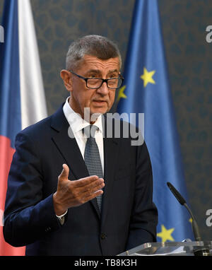 ***MAY 24, 2019, FILE PHOTO*** Czech PM Andrej Babis (ANO) faces a conflict of interest over the prevailing links to his former firms in the Agrofert group, according to an audit that the European Commission (EC) sent to Czech authorities, Hospodarske noviny (HN) financial paper writes on its website today, on Friday, May 31, 2019. Brussels demands that all EU subsidies Agrofert received from 2018 be returned. Babis owned the Agrofert giant chemical, agricultural, food and media holding until 2017 when, in his then capacity as finance minister, he transferred it to trust funds to comply with - Stock Image