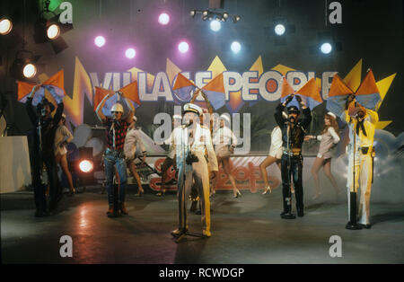 VILLAGE PEOPLE US pop group about 1979 - Stock Image