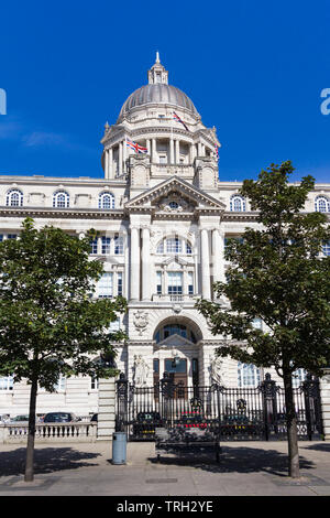 The west entrance to the Port of Liverpool building, Liverpool. The  building is one of the 'Three Graces' on Liverpool's Pier Head. It was completed - Stock Image
