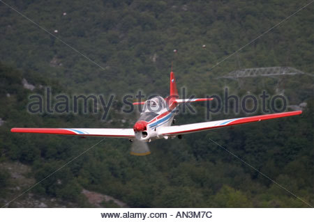 Grobnik Croatia Air show 2005 trainer Zlin 526 F Slovenian S5 DBO head on - Stock Image