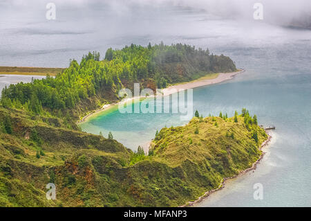Sete Cidades lake view on Azores Islands in Portugal. - Stock Image