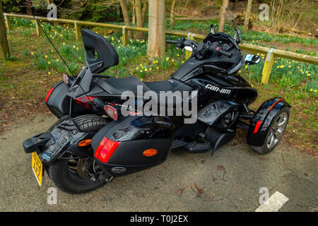 A Can-Am Spyder SD Limited Motor Tricycle parked in in North Yorkshire England UK - Stock Image