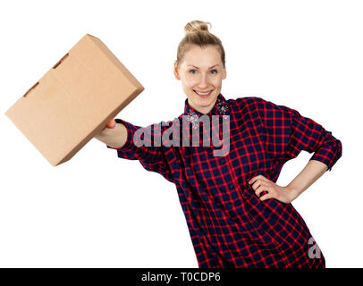 smiling woman with blank cardboard box in hand isolated on white background - Stock Image