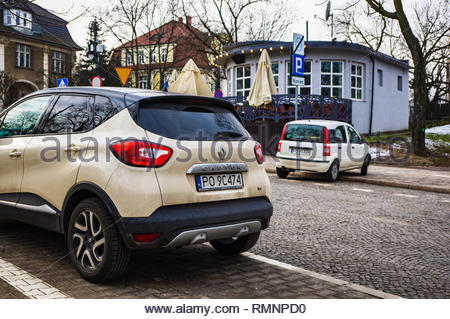 Poznan, Poland - February 7, 2019: Parked Renault Captur car on a parking spot in the city center. - Stock Image