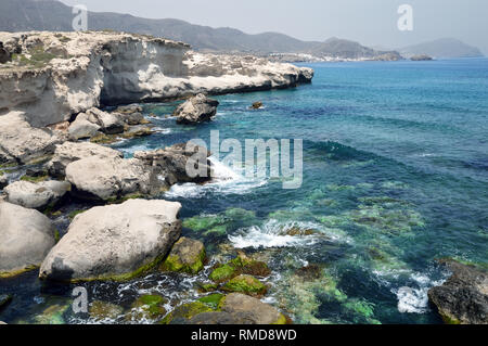 Los Escullos is an area special for its geology including fossil dunes in the Cabo de Gata Natural Park, Spain. - Stock Image