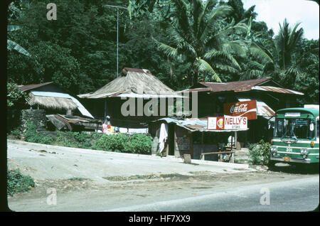 Small settlement near Manila; Luzon Island, Philippines.  Note thatched roof structures. - Stock Image
