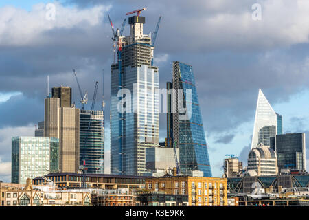 Skyscrapers under construction over Blackfriars Bridge in London, England on sunny day. - Stock Image