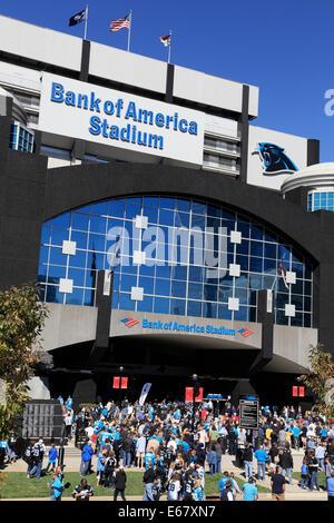 Bank of America stadium, Charlotte, North Carolina. Carolina Panther's fans outside the entrance. - Stock Image