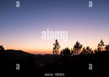 Sunset at Casa de Rabiela near Vila Praia de Ancora, Northen Portugal. - Stock Image