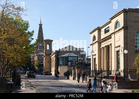 Refurbished Victorian and Georgian buildings in Wade Street, Halifax, West Yorkshire - Stock Image