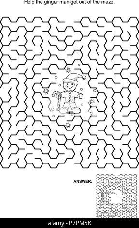 Maze game, black and white: Help ginger man get out of the maze. Answers included. - Stock Image