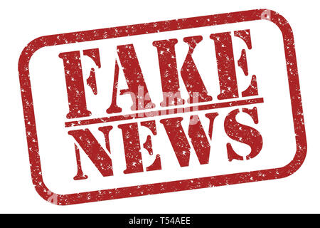 Rubber stamp fake news, red text on white illustration - Stock Image