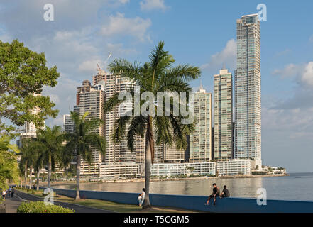 waterfront in front of the skyline panama city - Stock Image