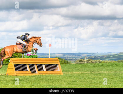 Rockingham Castle grounds, Corby, England. Saturday 20th May 2017. Elphege Copet-Dortet and her horse Ulahupbiats - Stock Image