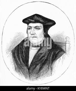 Engraving of Matthew Parker. From Our english Bible by John Stoughton, circa 1900. - Stock Image