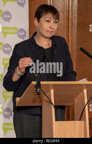 London, United Kingdom. 22 January 2019. People Vote 'Shining a light on alternative Brexit plans' press conference held at the Royal Institute of Chartered Surveyors building in central London. Pictured: Caroline Lucas. Credit: Peter Manning/Alamy Live News - Stock Image