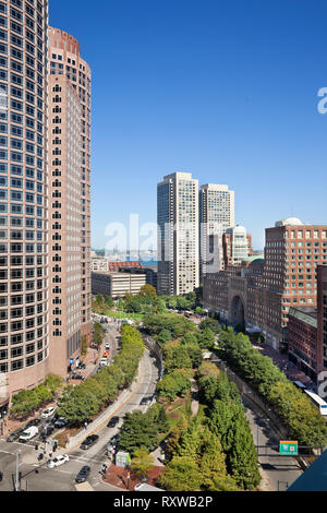 Rose Kennedy Greenway as seen from the roof of the Independence Wharf Building, To the right is the Boston Harbor Hotel and to the left are towers One and Two of International Place, Boston, Massachusetts, USA, Two of Intenational Place. Boston, Massachusetts, USA - Stock Image