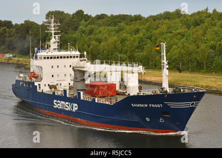 Reefer vessel Samskip Frost passing the Kiel Canal - Stock Image