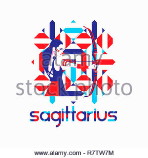 Fashion model in geometric pattern as sagittarius zodiac sign - Stock Image