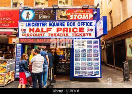 Leicester Square Box office, West End theatre tickets, discount theatre tickets, Leicester square ticket office, Leicester Square West End tickets, - Stock Image