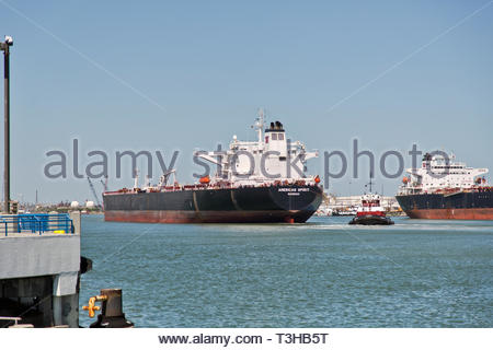 Empty Crude Oil Carrier entering Port Of Corpus Christi. - Stock Image