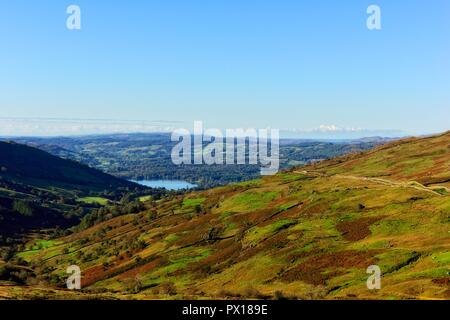 A view from KIirkstone Pass Looking down towards Ambleside and Lake windermere,Cumbria,England,UK - Stock Image