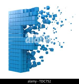 letter F shaped data block. version with blue cubes. 3d pixel style vector illustration. suitable for blockchain, technology, computer and abstract th - Stock Image