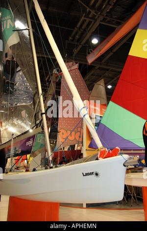 Laser sailing boat at the london boat show - Stock Image