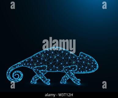 Lizard chameleon low poly model, African animal abstract graphics, reptile polygonal wireframe vector illustration on dark blue background - Stock Image