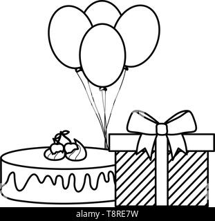 gift box with sweet cake and balloons helium floating vector illustration design - Stock Image