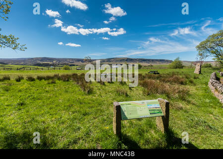 North Pennines landscape, Cronkley Fell and Scar from Hanging Shaw, Forest in Teesdale, UK in Spring sunshine - Stock Image