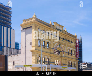 Restoration begins on Her Majesty's Theatre in Adelaide, South Australia, Australia while retaining the building's original facade. - Stock Image