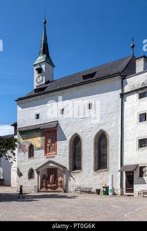 St Georgs Kirche in the grounds of Hohensalzburg Castle above the city of Salzburg in Austria. UNESCO World Heritage Site. - Stock Image