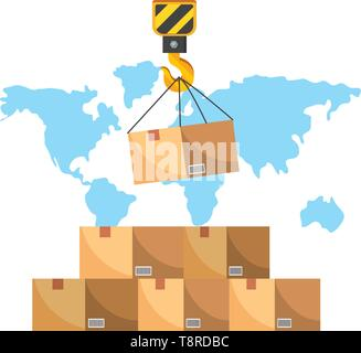 box with crane hook and a map behind vector illustration graphic design - Stock Image