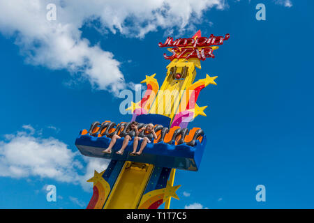 Children,Jumping Star Ride,Dreamland,Amusement Park,Margate,Kent - Stock Image