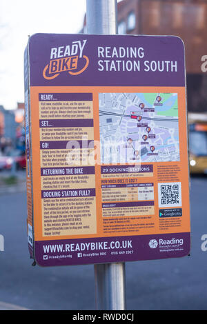A sign advertising the 'ReadyBike' bicycle hire scheme in Reading Berkshire. - Stock Image