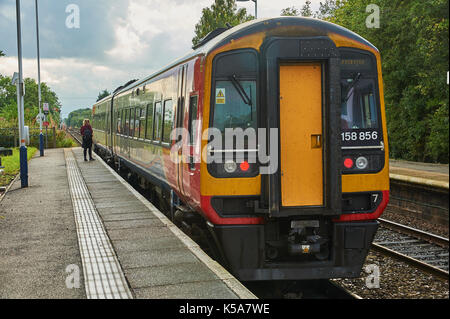 A single passenger using a local East Midlands trains service at the rural Lincolnshire station of Swinderby. - Stock Image