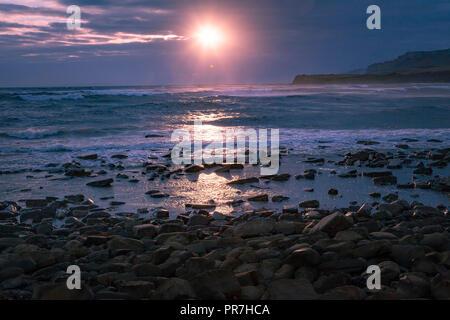 Dorset coast at Sunset - Stock Image