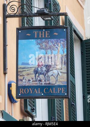 The Royal Calpe pub sign - Stock Image