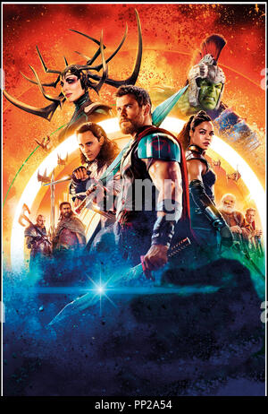 Prod DB © Marvel Studios - Walt Disney Studios Motion Pictures / DR THOR: RAGNAROK (THOR: RAGNAROK) de Taika Waititi 2017 USA visuel  avec Chris Hemsworth, Idris Elba, Cate Blanchett, Jeff Goldblum, Tom Hiddleston, Tessa Thompson, Anthony Hopkins suite, sequelle, fantastique, super heros d'apres les personnages de Jack Kirby, Stan Lee, Larry Lieber - Stock Image