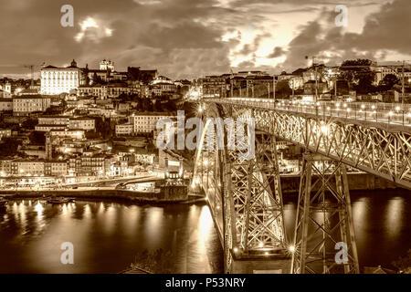 Dom Luis I Bridge over the River Douro, sepia,  Porto, Portugal - Stock Image