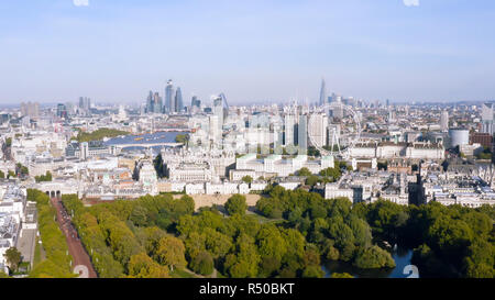 New London Skyline Aerial View one of the Most Beautiful Cities in the World with Iconic Landmarks Wheel, Modern Towers feat. Famous Westminster UK - Stock Image