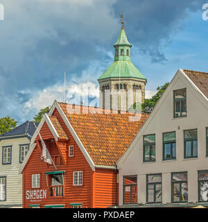 The Valberg Tower Above The Buildings, Stavanger Norway - Stock Image