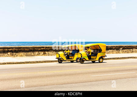 Cuban Three Wheeled Coco Taxi, A Modified Motorcycle That Can Carry Three Passengers, coco cab, coco taxi Cuba, - Stock Image