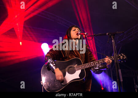 Aberdeen, UK. 8th Dec 2018. Sleep in the Park . KT Tunstall performs her first gig of the night before moving on to, Dundee, Glasgow and Edinburgh. Credit Paul Glendell Credit: Paul Glendell/Alamy Live News - Stock Image