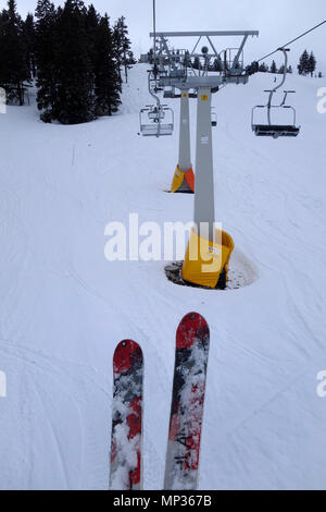 A view from the chair of chairlift. - Stock Image