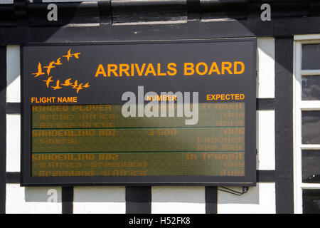 Arrivals board, giving migratory bird information, on the exterior of the RSPB Discovery Centre at Fairhaven Lake, - Stock Image