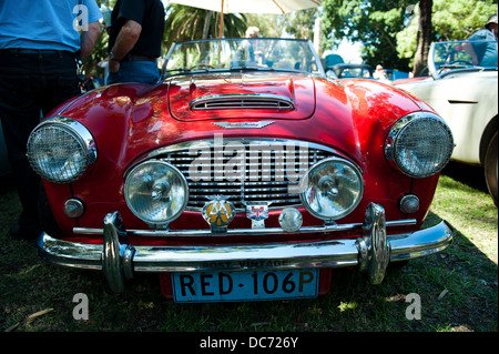 Classic red Austin-Healey 3000 sportscar - Stock Image
